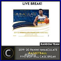 2019-20 Panini Immaculate Basketball 5 Box Full Case Break #b506 Random Teams