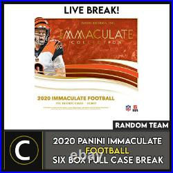 2020 Panini Immaculate Football 6 Box (full Case) Break #f619 Random Teams