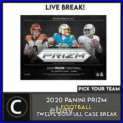 2020 Panini Prizm Football 12 Box (full Case) Break #f629 Pick Your Team