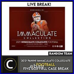 2021 Panini Immaculate Collegiate 5 Box (full Case) Break #f764 Random Teams