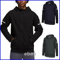 Adidas Men's Squad Bomber Jacket Water Resistant Hooded Full Zip Training Jacket