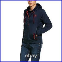 Ariat Men's Keats Team Navy & Red Full Zip Fleece Hoodie 10030556