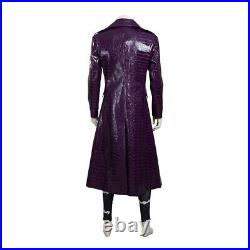 Cosonsen Suicide Squad Joker Cosplay Costume Halloween Outfits Leather Suit