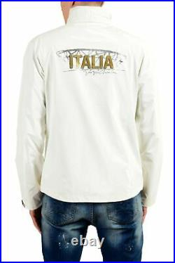 Emporio Armani EA7 Italia Team Men's White Full Zip Hooded Windbreaker Jacket