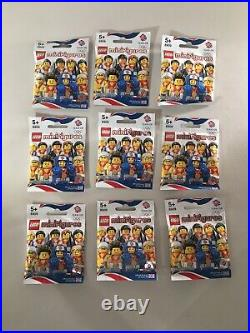 FACTORY-SEALED FULL SET of 9 Olympic Team GB series Lego Minifigures (8909) 2012