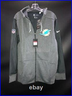 MIAMI DOLPHINS NIKE TEAM ISSUED FULL ZIP HOODIE JACKET NEW WithTAGS SZ-LARGE