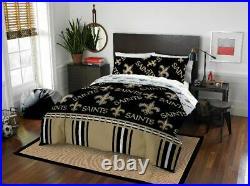 New Orleans Saints NFL Full 5 Piece Comforter Bedding Team Logo Bed in Bag Set