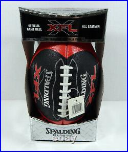 New XFL Spalding Football 2000 Official Leather Game Issued Ball Full Size NIB