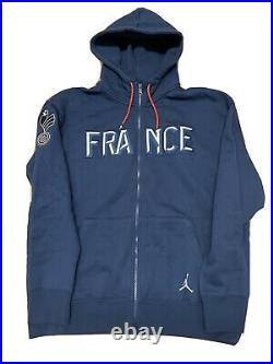 Nike Jordan Men's France National Team Blue Full-Zip Hoodie CT2189-419 Size XL