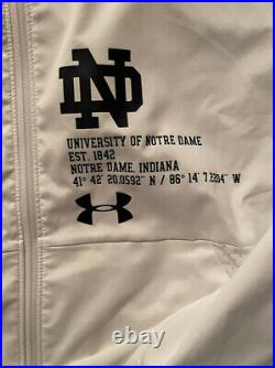 Notre Dame Football Team Issued Full Zip Hooded Jacket New Tags XL