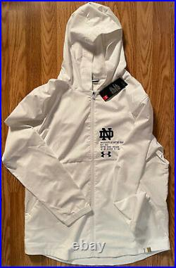 Notre Dame Football Team Issued Under Armour Full Zip Hooded Jacket New Large