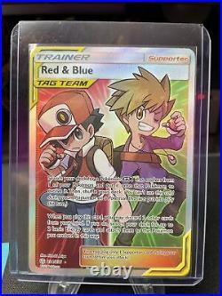 Pokemon Cosmic Eclipse Red & Blue Tag Team Full Art Trainer 234/236 NM PSA 10