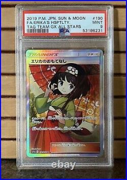 Pokémon Erikas Hospitality Full Art 190/173 Tag Team GX JP PSA 9 Mint US Seller