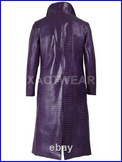 Suicide Squad The Joker Cosplay Costume Purple Faux Leather coat BIG SALE