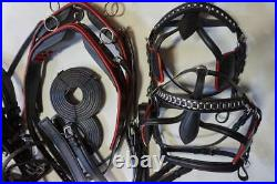 TEAM Saddle +Breastcollar style CART DRIVING Harness Black withred trim Horse Full