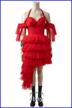 The Suicide Squad 2 Harley Quinn Cosplay Costume Red Dress Full Set Halloween