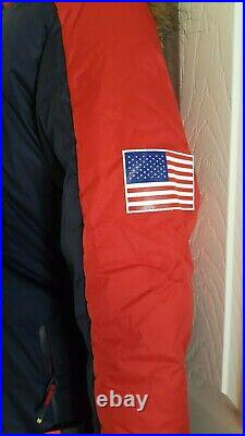 Women's Under Armour Team USA Puffer Long Hooded Jacket Red/blue